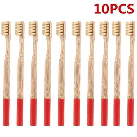 Cepillo de dientes de bambú, cuidado dental natural para familia biodegradable, cerdas medianas,