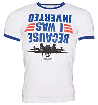 80adff725 Mens Top Gun Because I was Inverted Ringer T Shirt - 80s Movie Tees White/