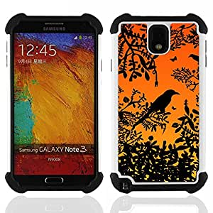 - bird tree branch rainforest sunset sitting/ H??brido 3in1 Deluxe Impreso duro Soft Alto Impacto caja de la armadura Defender - SHIMIN CAO - For Samsung Galaxy Note3 N9000 N9008V N9009
