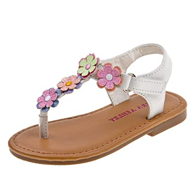 5b8449ad67819 Laura Ashley Girls Multi Flower Thong Sandal (Infant, Toddler)