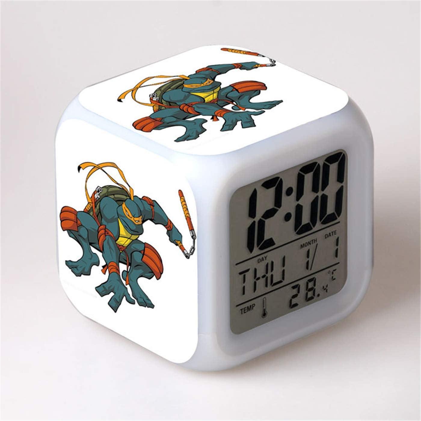 Coo-kid Teenage Mutant Ninja Turtles Clock-7 Color Change LED Digital Alarm Clock Kids Small Alarm Clock Night Glowing Clock