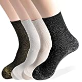 OkieOkie Metallic Glitter Lurex Sparkle Retro Casual Crew Fashion Socks Ladies Womens-4 Pairs Good for Gift One Size Fits All (4 Glitter Combo 1)