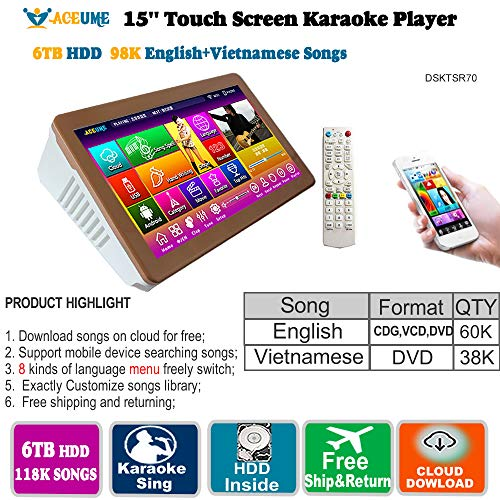 (6TB HDD,98K Vietnamese+ English Songs, 15'' Touch Screen Karaoke Player, Multilanguage Menu and Fast Search.)