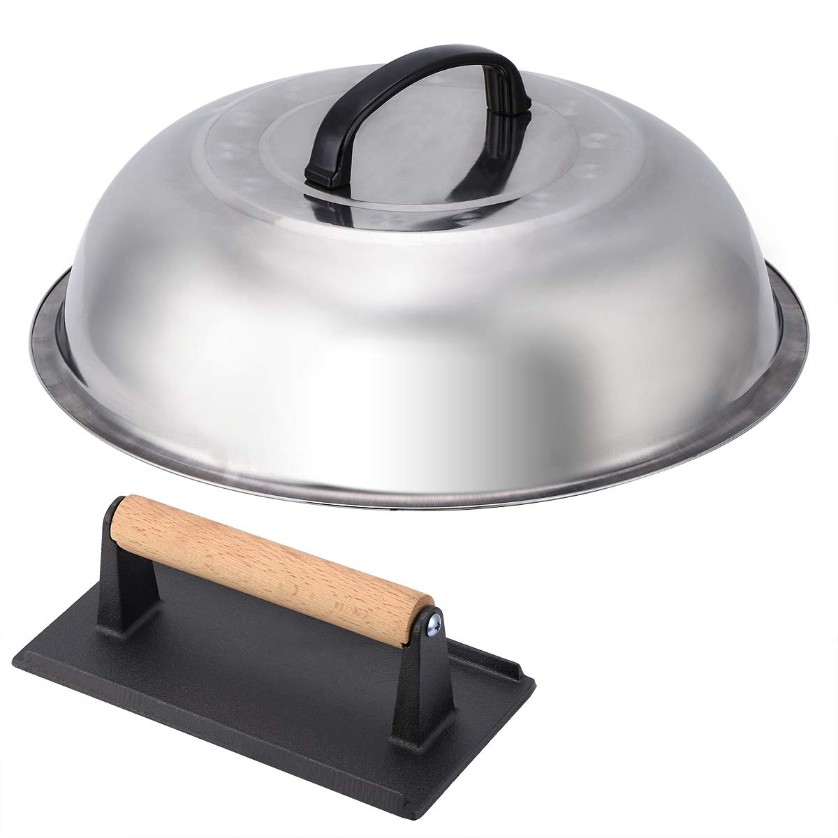 NEWANOVI Stainless Steel 12 Inch Basting Cover and Cast Iron Grill Press Kit for Hamburger Bacon Steak by NEWANOVI