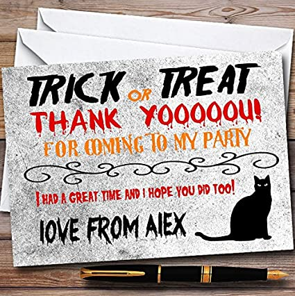 Trick Or Treat Black Cat Personalized Halloween Personalized Halloween Party Thank You Cards