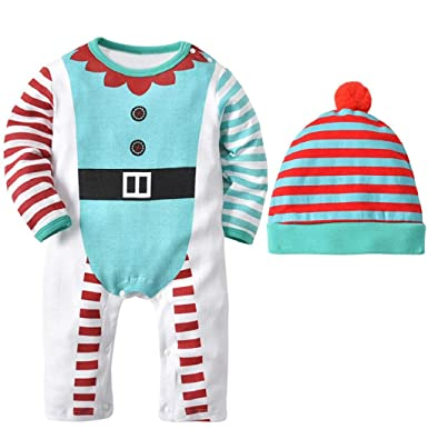 2b8695069ec70 Taylorean Toddler Infant Baby Boys Girls Stripe Print Romper Jumpsuit+Hat  Set Outfit My First
