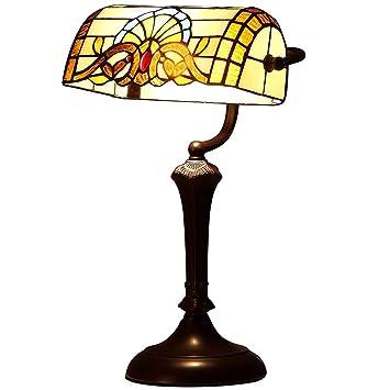 GAOLIQIN Tiffany Style Bank Lámparas de Mesa, vitrales Retro ...
