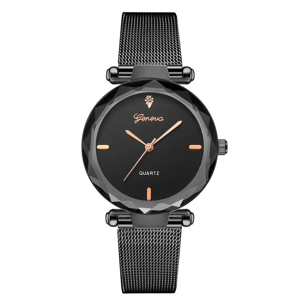 Starry Sky Watch for Women, Crystal Dial Analog Quartz Wristwtach with Buckle Mesh Steel Band Bravetoshop R6209(C)