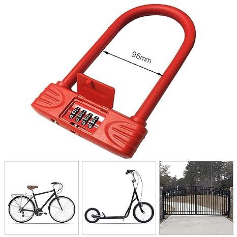 OUTERDO Candado de Bicicleta U con cable Bloqueo de bicicleta Bloqueo Antirrobo Durable