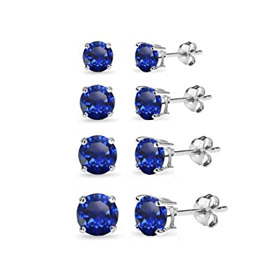 c6701cdf8 4 Pair Set Sterling Silver Created Blue Sapphire Round Stud Earrings for  Women, 3mm 4mm