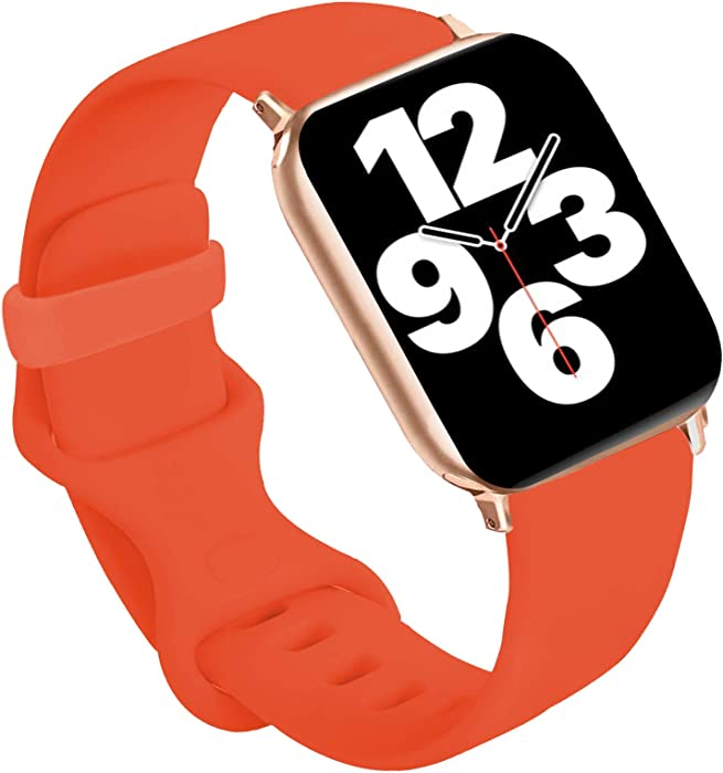 Idon Sport Watch Band, Soft Silicone Replacement Sports Bands Compatible with Watch SeriesSE/Series6/5/4/3/2/1 42MM 44MM for Watch All Models (Apricot,42MM M/L)