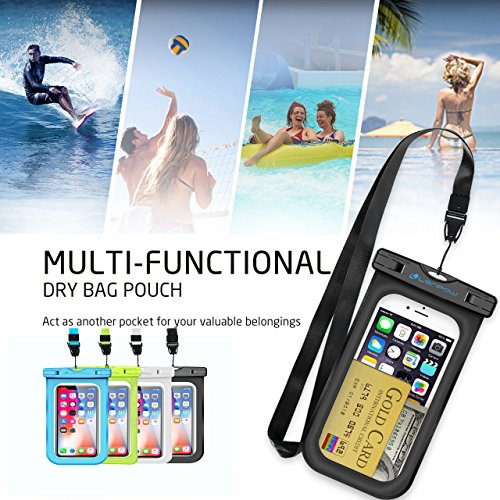 Firstbuy Universal Waterproof Case Waterproof Phone Pouch IPX8 Dry Bag For iPhone 8/7/7 Plus/6S/6/6S Plus/SE/5S, Samsung Galaxy S8/S8 Plus/Note 8 6 5 4, Google Pixel 2 HTC LG Sony MOTO - 4 Pack by Firstbuy (Image #7)
