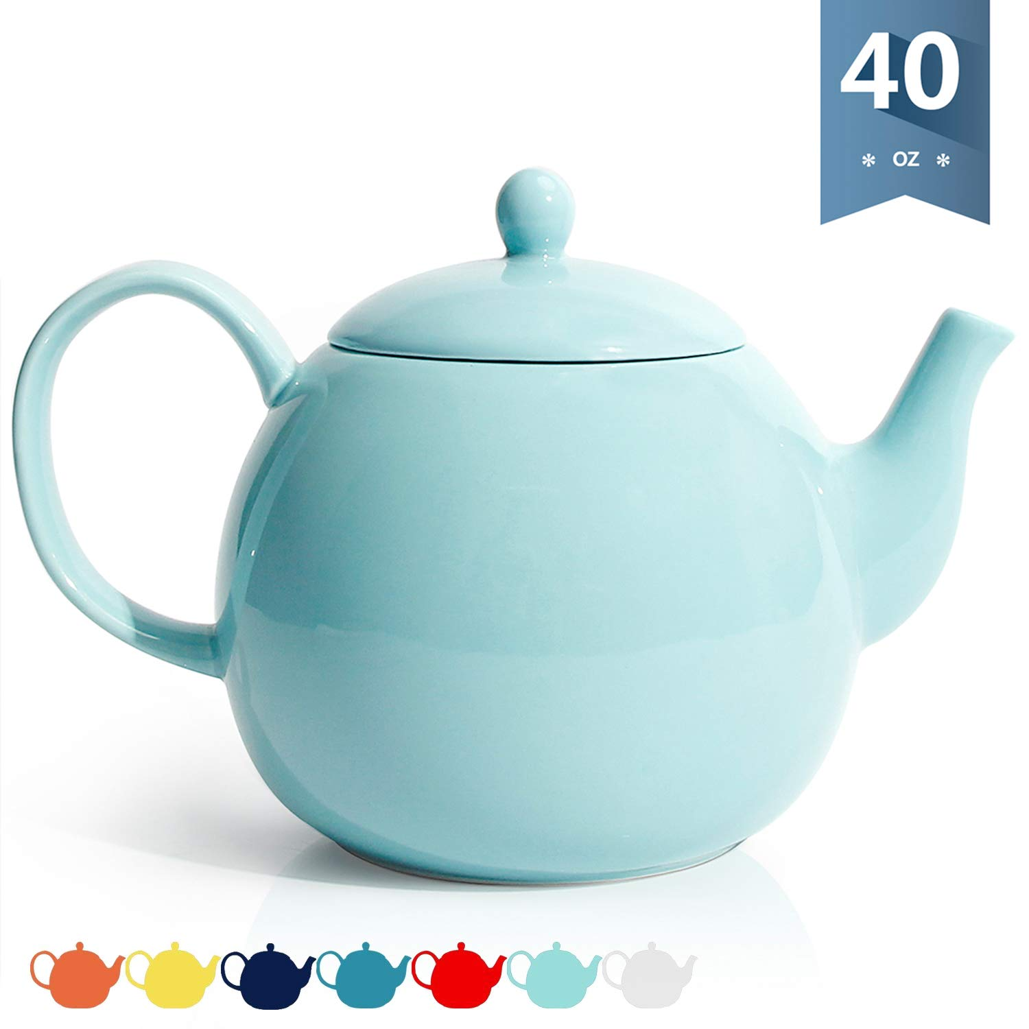 Sweese 220.102 Porcelain Teapot, 40 Ounce Tea Pot - Large Enough for 5 Cups, Turquoise