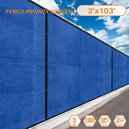 103' Screens (Sunshades Depot Tang Privacy fence screen 3' x 103' 180 GSM Heavy Duty Commercial Windscreen Residential Fence Netting Fence Cover 88% Privacy Blockage with excellent Airflow 3 Years Warranty)