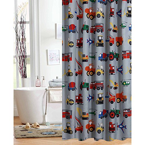 Transportation Shower Curtain Gray Kid Boy Truck Tractor Plane Train Construction (Curtain Various Shower)