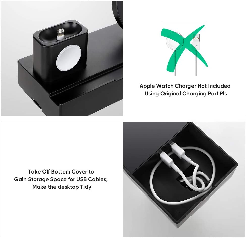 iPad and iPhone Xs//Xs Max//XR//X//8//8Plus HB HOMEBOAT 8-in-1 Wireless Charging Stand with 2 USB Ports with 2 Cables Charging Dock Pad Compatible with iWatch Series 5//4//3//2//1 AirPods Black