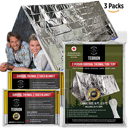 """TEBRION 1 Emergency 2-Adults Mylar Thermal Tents and 2 Large 63"""" x 82"""" Blankets Set - Designed for NASA - Perfect for First Aid Kit, Bug Out Bag, Survival, Hiking, Auto, or Outdoors"""