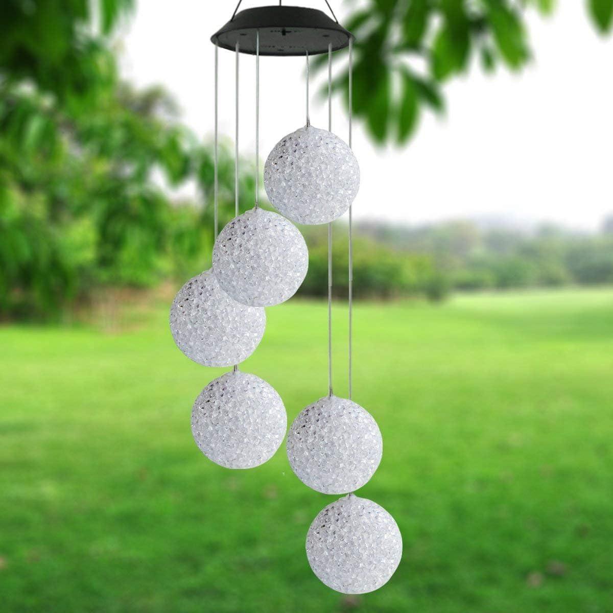 Yooda - Campana de viento solar con bola de cristal LED que cambia de color, para exteriores, impermeable, con energía solar, para patio, jardín, ...
