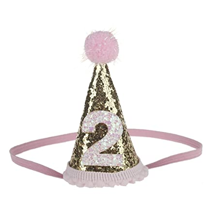 Petsidea Glitter Dog First Birthday Cone Hat Mini Doggy Cat Kitty Party Hats Pink