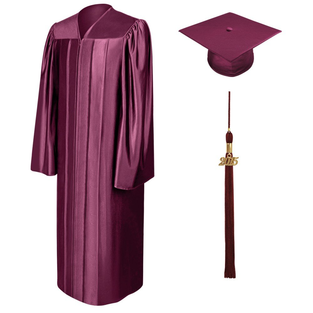 BEFORE GRADUATE MALL Unisex Shiny Graduation Gown Cap /& Tassel with 2016 or 2017 Year Charm
