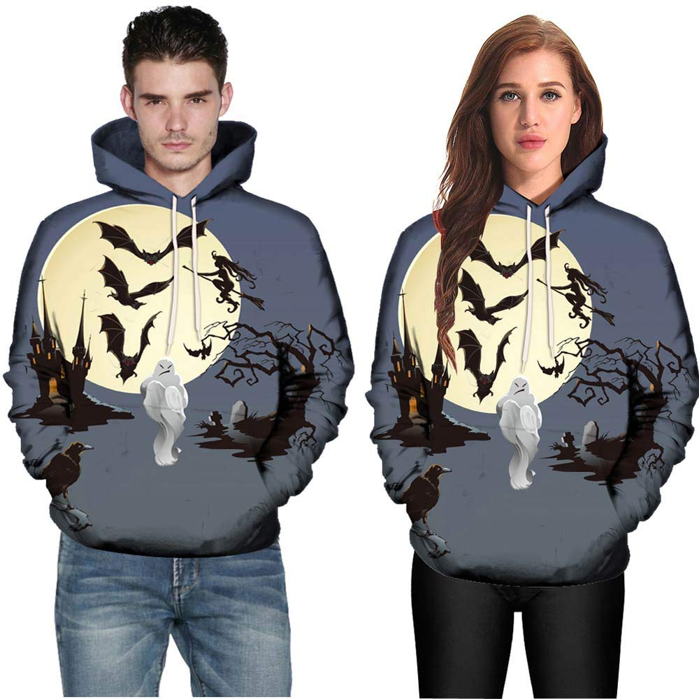 Halloween Sweatshirt,Scary Bats Witch Ghost Printed Hooded Pullover Unisex Loose Warm Pullover Leewos-Mens Hoddies New