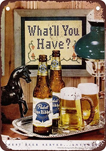 "7"" x 10"" METAL SIGN - 1951 Pabst Blue Ribbon Beer - Vinta..."