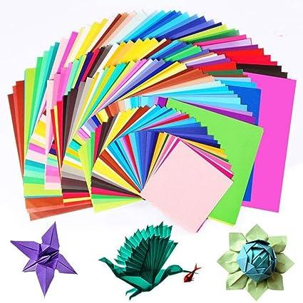Origami Paper, BCMRUN 200 hojas de papel de Origami de doble cara en 50 colores vívidos surtidos 4 tamaños Crafts de papel de DIY Craft para arte y ...