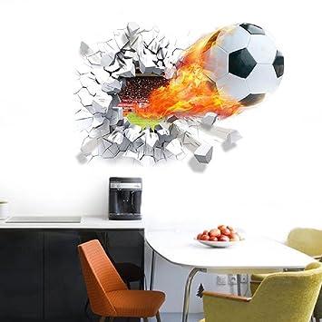 3D Fire Flame Flying Football Soccer Car StickerKing Sport Laptop Decal Decor