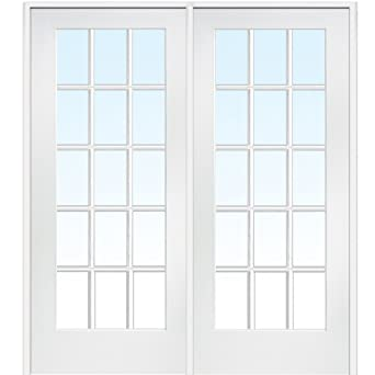 National Door Company ZA09308L Primed Wood Prehung In Swing Interior Double  Door, Clear Glass