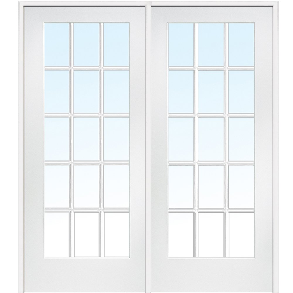 National Door Company Z009309L Primed Wood Prehung In-Swing Interior Double Door, Clear Glass, 15 Lite, Left Hand, 72'' x 80''