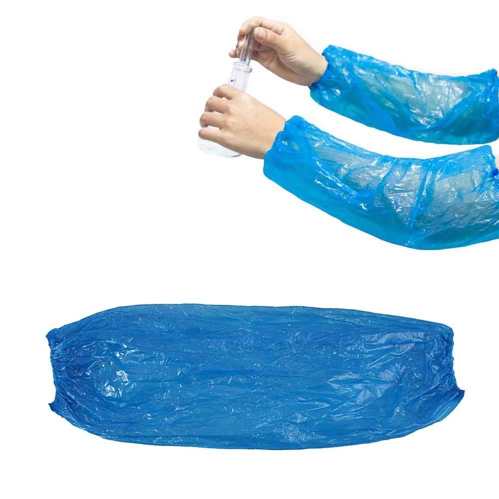 AOLVO USA e Getta in Polipropilene Braccio Maniche, 100 pz 38 cm Lunghezza PE Maniche Braccio per Polso Elasticizzato Impermeabile per Pittura Riparazione Pulizia Tattoo da Uomo e da Donna Blue