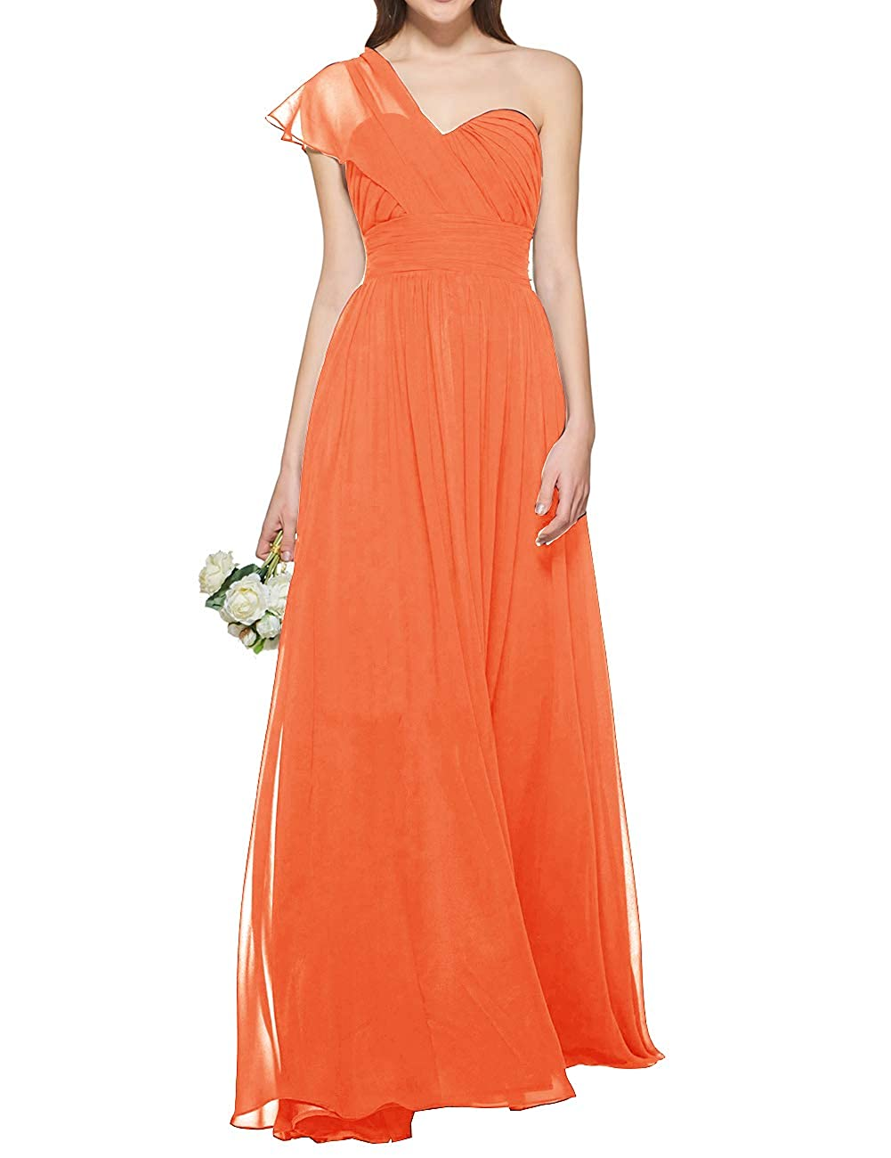 orange Uther Women's One Shoulder Bridesmaid Dress Long Prom Evening Gown A Line