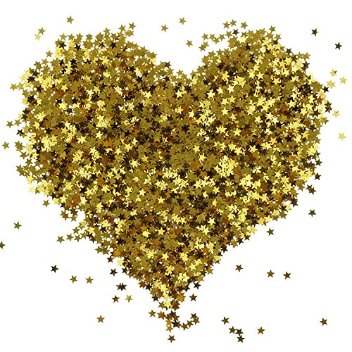 Bilipala Gold Star Table Confetti Sparkle Star Sequins For Wedding Baby Shower Birthday Party Decorations Supplies, 6 MM, 2 Ounce