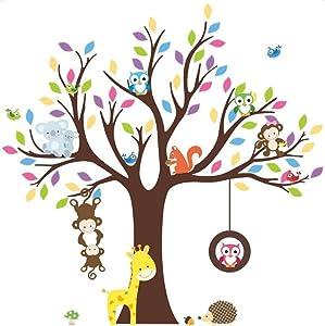 "HorBous 40"" 43"" 3D DIY Cartoon Animal Monkey Owl Tree Wallpaper Wall Stickers for Home/Kids Room/Children Bedroom/Kindergarten Classroom Decoration -2 Styles (1)"
