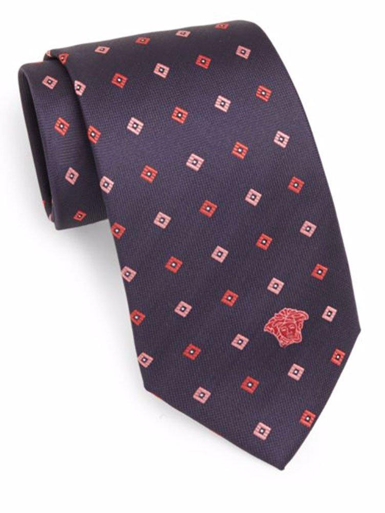 Versace Men's Diamon Neat Silk Tie, OS, Navy & Red