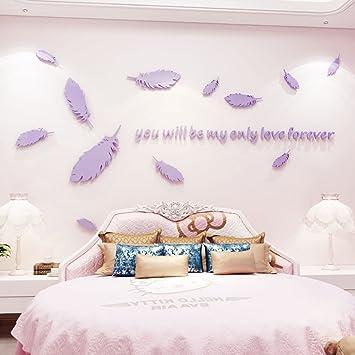 Romantische Federn Acryl 3D Stereo Wandaufkleber Wohnzimmer Schlafzimmer  Hintergrund Wanddekoration (Größe: 200 * 112cm