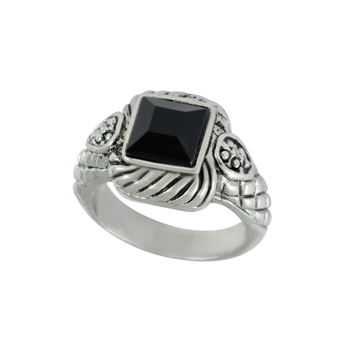 Sarah Black Stone Finger Ring for Men Silver Amazon Jewellery