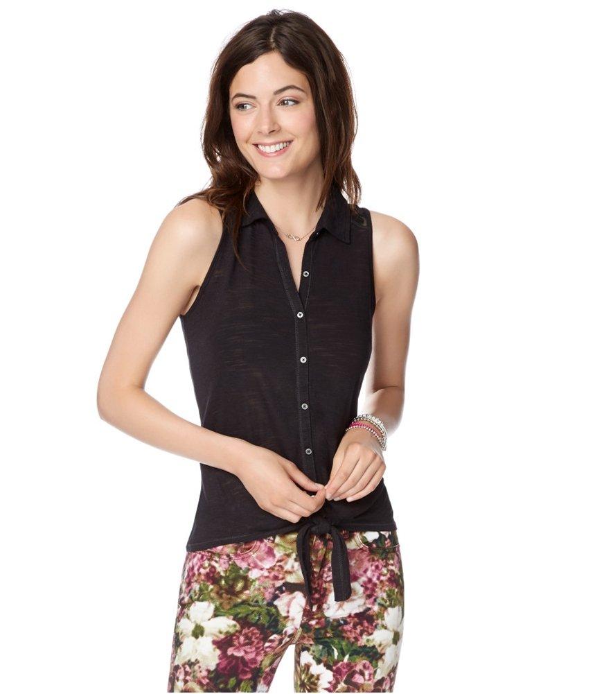 Aeropostale Womens Lace Tie-Front Button Up Shirt Black S - Juniors
