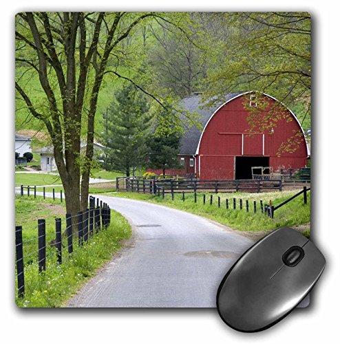 3dRose LLC 8 x 8 x 0.25 Inches Mouse Pad, Red Barn and Farm House Near Berlin, Ohio, David R. Frazier (mp_93372_1)