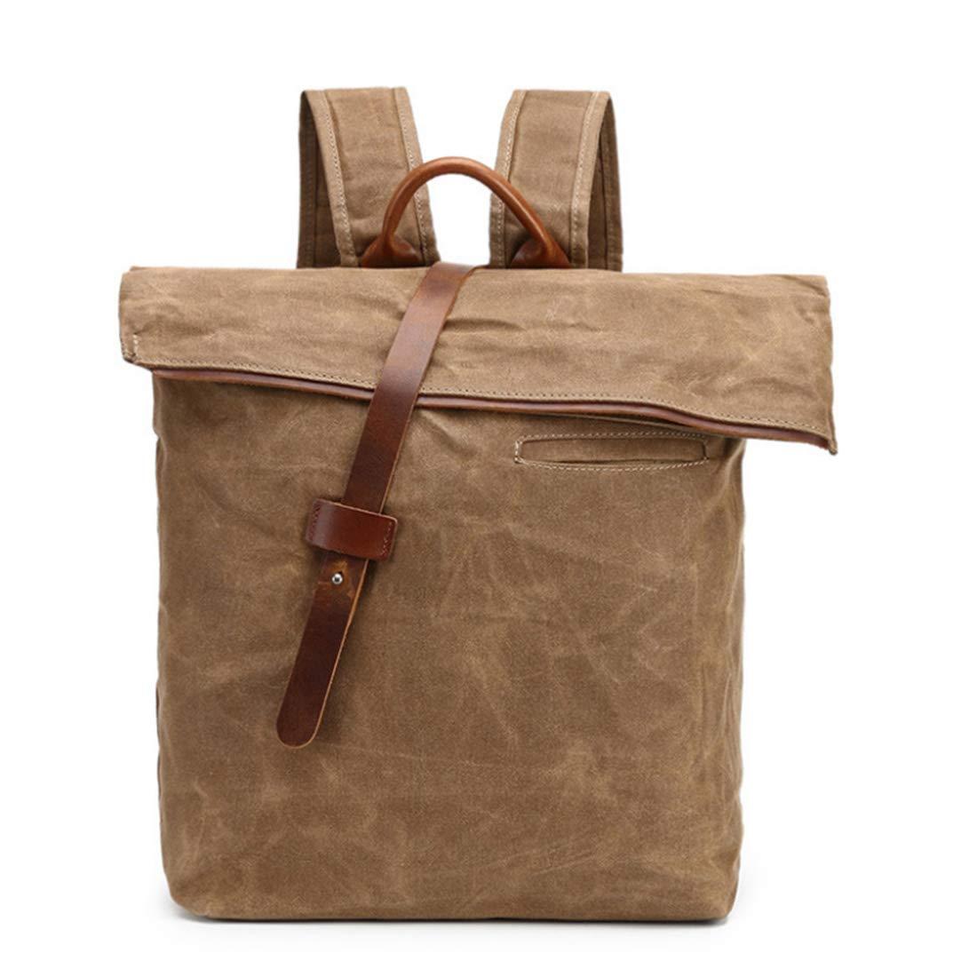 Color : Coffee Color Carriemeow Batik Cloth Leisure Shoulder Crazy Horse Leather Travel Backpack Waterproof Canvas Shoulder Bag