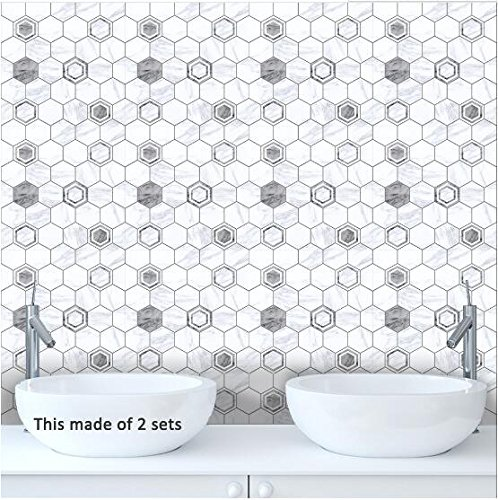 (Modern wall stickers minimalist marble texture gray white tile paste parlor study kitchen wall stickers (10 sets, M(20x20cm)))