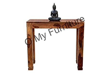 O My Furniture Classic Bottom Curved Leg Teak Finish Study Table