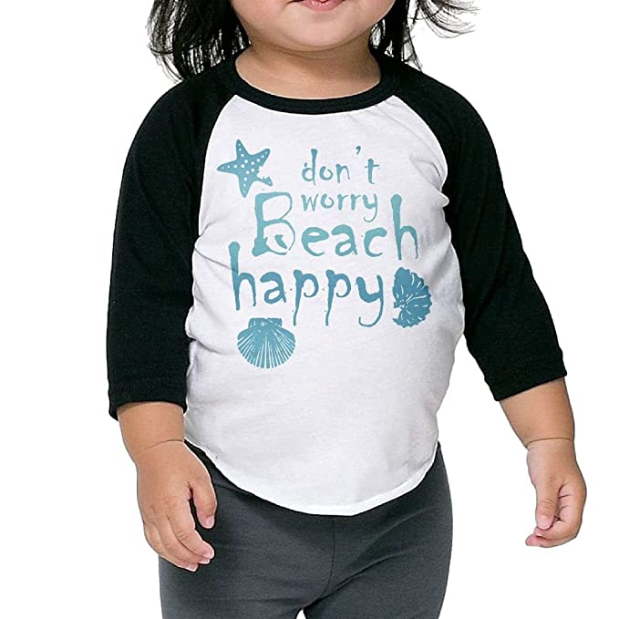 540305ceee47 Amazon.com: Wons Kid's Dont Worry-Beach Happy Fashion Fit Black Cute Tee  Crew Neck 1/2 Sleeve Raglan T-Shirt: Clothing