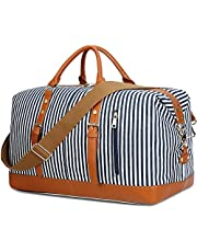 CAMTOP Weekend Travel Bag Ladies Women Duffle Tote Bags PU Leather Trim Canvas Overnight Bag Luggage