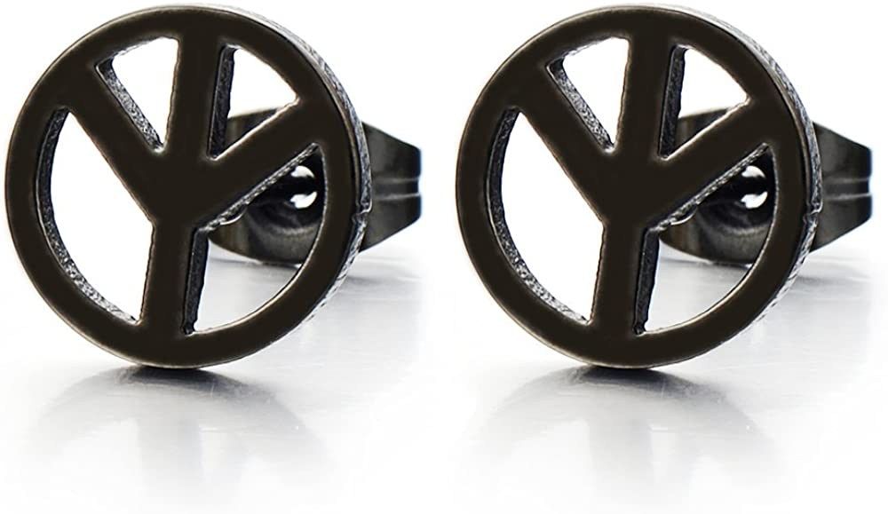 Unisex Anti-war Peace Sign Stud Earrings for Man and Women, Stainless Steel, 2pcs