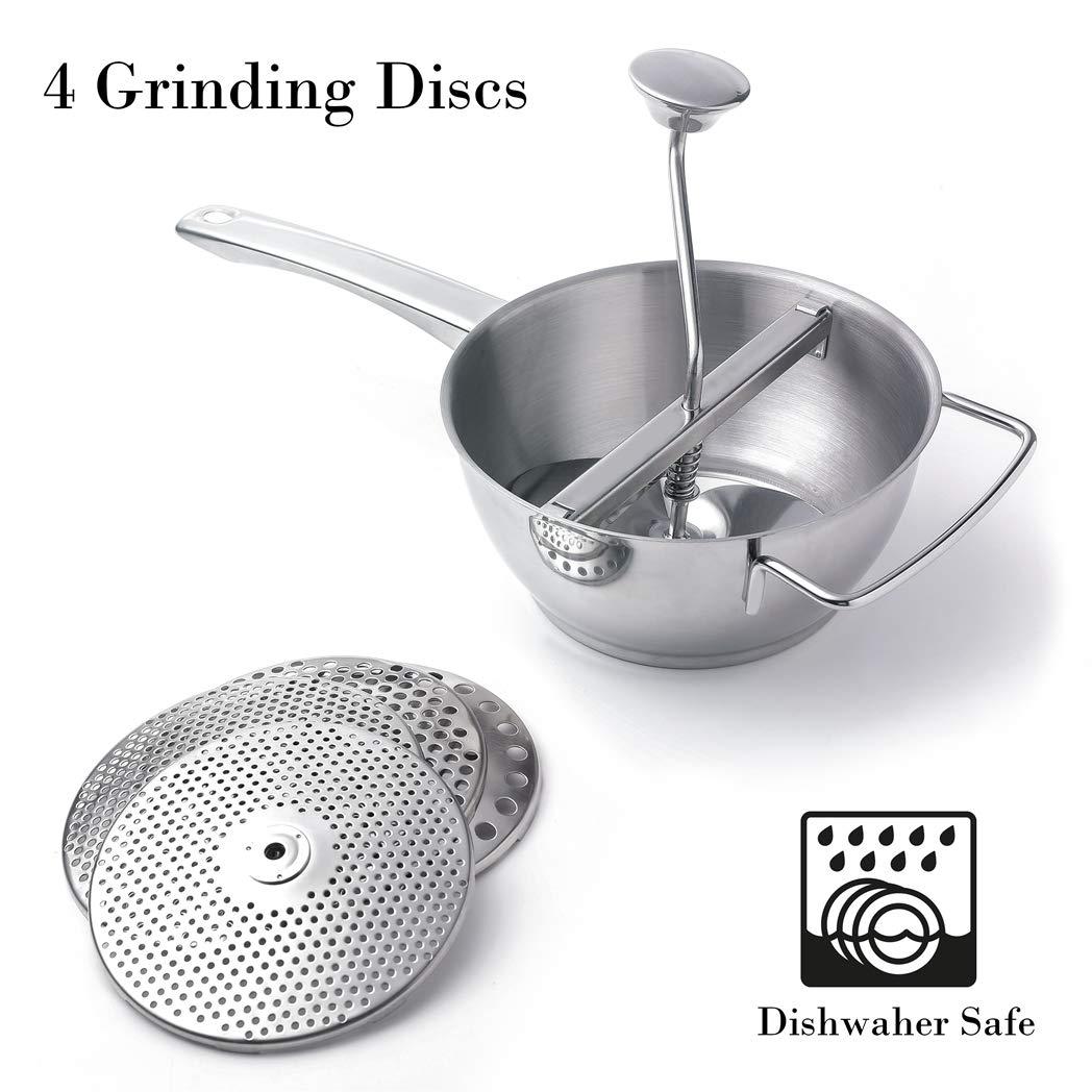 Food Mill 18/10 Stainless Steel Fruit Vegetables Grinder Large 2 Quart Capacity 4 Milling Discs Dishwasher Safe by AlwaysU
