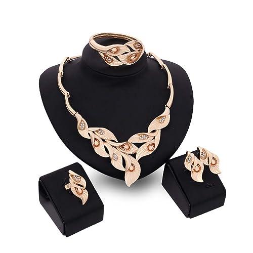 MJartoria Damen Schmuck Set Statement Kette Ohrringe Armband Blume Anhänger Boho Türkis Gold Farbe 3 Stück