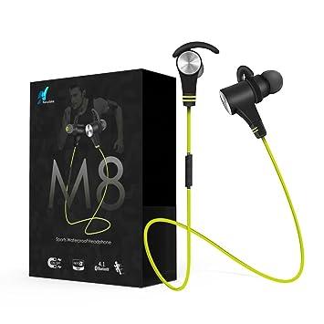 Auriculares Bluetooth Inalámbricos 4.1 auriculares deporte auriculares estéreo Bass auriculares con micrófono de alta definición nasudake