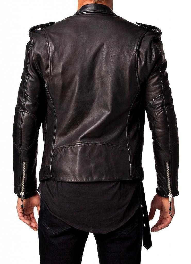 Trendtales Veste en Cuir Homme Peau dagneau Cuir TTKL305 Noir