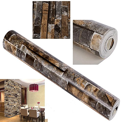 Wallpaper Removable Brick 3D Textured Effect Natural Embossed Stack Stone Wallpaper for Bedroom Walls Living Room Kitchen Home Design Decoration by cosway (Image #2)
